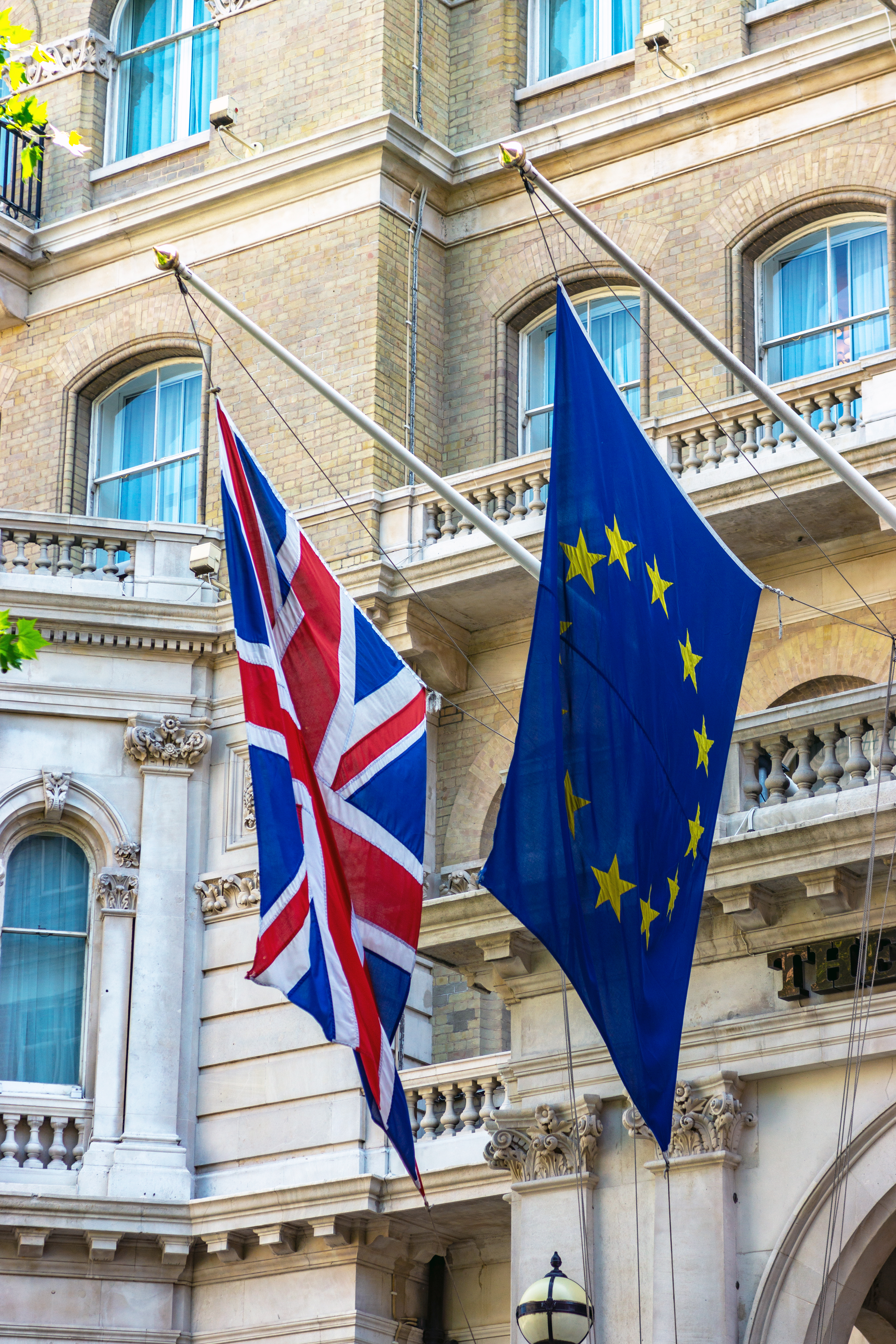 Euro And UK Flags